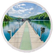 Lake Fontana Boats And Ramp In Great Smoky Mountains Nc Round Beach Towel