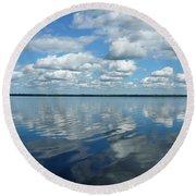 Lake Full Of Clouds Round Beach Towel