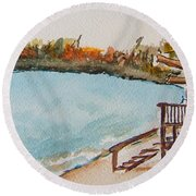 Lake Geneva Shoreline Round Beach Towel
