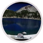 Lake Helen At Mt Lassen Triptych Round Beach Towel by Peter Piatt