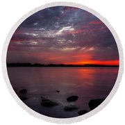 Lake Herman Sunset Round Beach Towel