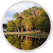 Lake House In Autumn Round Beach Towel