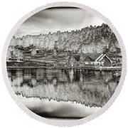 Lake House Reflection Round Beach Towel by Ron White