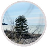 Lake Huron Landscape Round Beach Towel