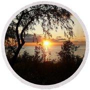 Lake Huron Setting Sun Round Beach Towel