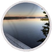 Lake In Autumn Sunrise Reflection Round Beach Towel