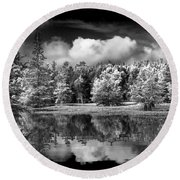Lake In Black And White One Round Beach Towel
