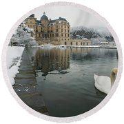 Lake In Front Of A Chateau, Chateau De Round Beach Towel