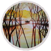 Lake In The Morning Round Beach Towel