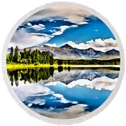 Lake In The Mountains Round Beach Towel