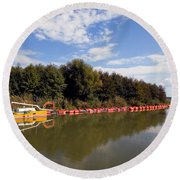 Lake Inlet With Dredger Round Beach Towel