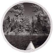 Lake Kayaking Bw Round Beach Towel