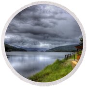 Lake Koocanusa At Libby Dam Round Beach Towel