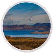 Lake Laberge And Surrounding Taiga In Fall Round Beach Towel