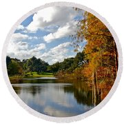 Lake Lancaster Round Beach Towel by Denise Mazzocco