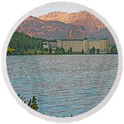 Lake Louise Chateau At Sunset In Banff Np-alberta Round Beach Towel