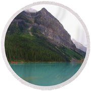 Panoramic Lake Louise, Alberta - Morning Reflections Round Beach Towel