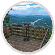 Lake Lure Overlook Round Beach Towel