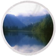 Lake Matheson In New Zealand's Westland National Park Round Beach Towel
