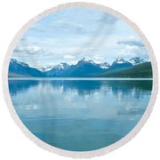 Lake Mcdonald Reflection In Glacier  National Park-montana Round Beach Towel