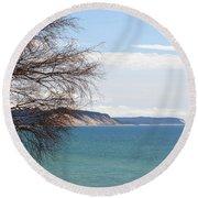 Lake Michigan Bluffs Round Beach Towel