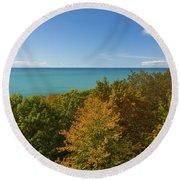 Lake Michigan Cut River 1 Round Beach Towel