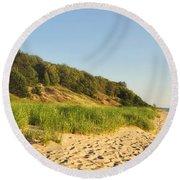 Lake Michigan Dunes 01 Round Beach Towel