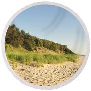 Lake Michigan Dunes 02 Round Beach Towel