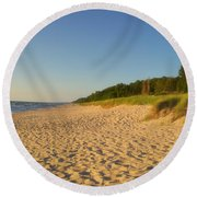 Lake Michigan Dunes 03 Round Beach Towel