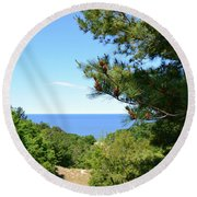 Lake Michigan From The Top Of The Dune Round Beach Towel