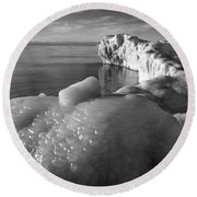Lake Michigan Ice X Round Beach Towel