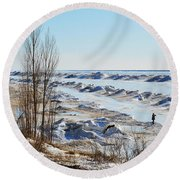 Lake Michigan In Ice Round Beach Towel