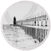 Lake Michigan Lighthouse Round Beach Towel