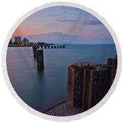 Lake Michigan Pylons Sunset Round Beach Towel