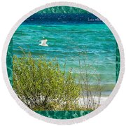 Lake Michigan Seagull In Flight Round Beach Towel