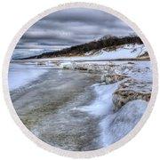 Lake Michigan Shelf Ice Round Beach Towel