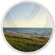 Lake Michigan Shoreline 01 Round Beach Towel