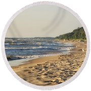 Lake Michigan Shoreline 03 Round Beach Towel