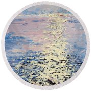 Lake Michigan Sunrise Round Beach Towel