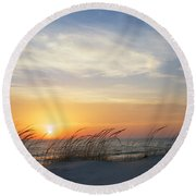 Lake Michigan Sunset With Dune Grass Round Beach Towel