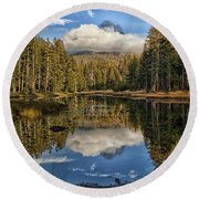 Lake Near Olmstead Point Yosemite Round Beach Towel