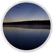 Lake Nockamixon Just Before Sunrise Round Beach Towel