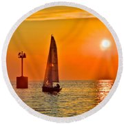 Lake Of Gold Round Beach Towel