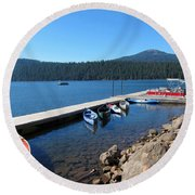 Lake Of The Woods Boat Harbor Round Beach Towel