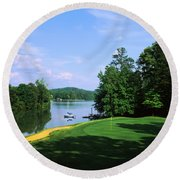 Lake On A Golf Course, Legend Course Round Beach Towel