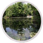 Lake On The Magnolia Plantation With White Bridge Round Beach Towel