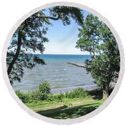 Lake Ontario At Webster Park Round Beach Towel