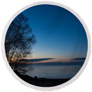 Lake Ontario Blue Hour Round Beach Towel