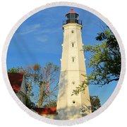 Lake Park Light House 2 Round Beach Towel