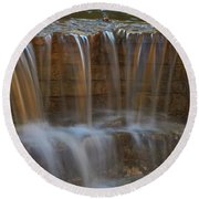Lake Park Waterfall Round Beach Towel